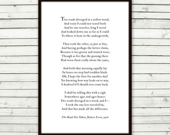 Road Not Taken poem print, Robert Frost, road less traveled, graduation gift for him, for her