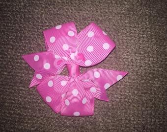 Bright pink and white pinwheel polkdot pig tail (set of 2)
