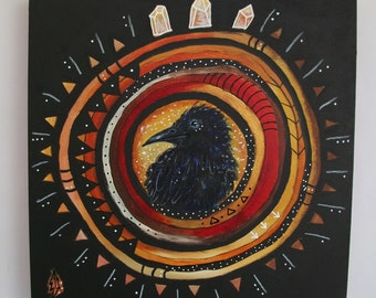 Original painting mixed media art painting on wood canvas 8x8 inches - Of crow and crystal