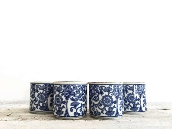 Set of 4 vintage japanese handleless mugs cups blue and - Handleless coffee mugs ...