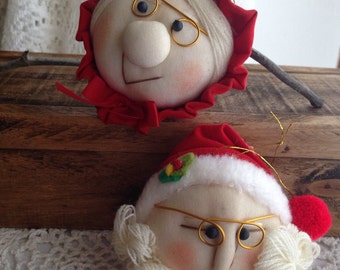 Vintage Mr and Mrs Santa Claus 1980's Stocking Face Ornament Red Hats Set Retro Holiday Decor