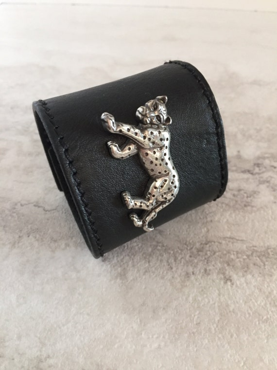 Handmade Women's Wide Black Leather Cuff with Leopard Charm