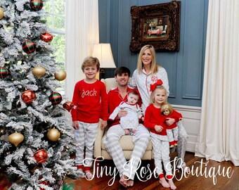 Grey Stripe/Polka Dot Winter Pajamas, Christmas Pajamas, Children's Holiday Pajamas, PJs, Baby Gown, Matching Doll Pajamas - PRE ORDER 3
