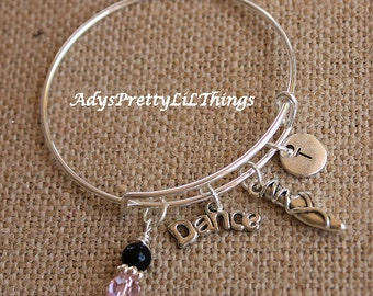 Ballet Bangle Girls Bangles Baby Bangles Dance Bracelet Personalized Expandable Bangle Initial Bracelet Baby Girls Jewelry Accessories