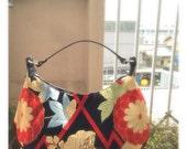 Obi / Kimono / Bag / BK841 Beautiful Flower Embroidery Antique Obi Crescent Bag Large Size