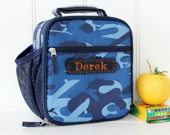 Lunch Bag With Monogram Upcycled Pottery Barn Classic  -- Navy Camo With Gray Strap