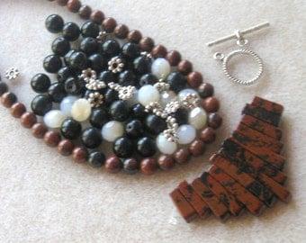 Mahogany Obsidian, Black Obsidian, Crystal Glass Rondelles, DIY Jewelry Kit, Craft Supply, Bead Kit, Jewelry Making Beads, Necklace Kit