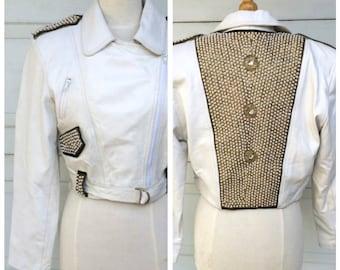 White Leather beaded Moto Jacket 80s Vintage short cropped Rocker Motorcycle Jacket with studs and shoulder epaulets   Small Medium