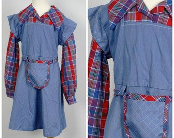 Blue chambray and red plaid 70s vintage girls school dress size 8 10 long sleeve child's dress large