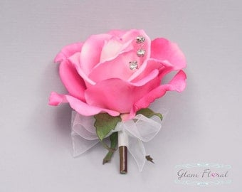 Hot Pink Rose Pin On Corsage. Real Touch Flowers. Caroline Rose Collection