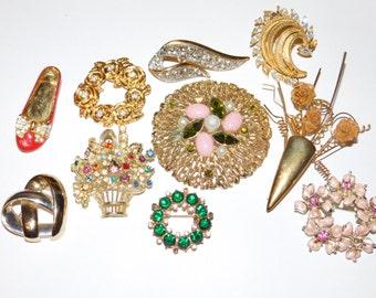 Huge Jewelry Lot, Brooch lot, rhinestone repair for wear, repair and upcycle