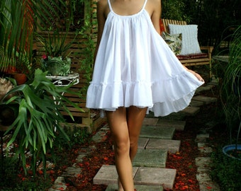 White Cotton Baby Doll Nightgown Ruffle Cottage Chic Shabby Chic White Lingerie Sleepwear Honeymoon Cotton Nightgown