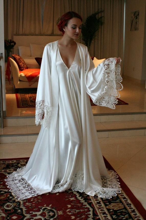 Satin Bridal Robe Wedding Trousseau Satin Sleepwear Wedding