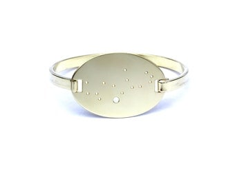 Virgo High Polished Raw Brass Zodiac Constellation Oval Bracelet
