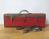 """Red Distressed Park Metal Toolbox """"Lots of Character"""""""