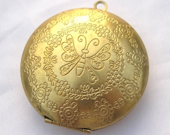 1pc Butterfly Flower Textured Photo Locket Round Necklace Pandent Brass Findings p048