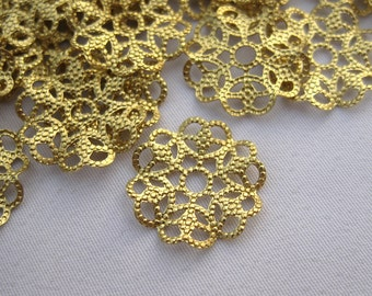 30pcs Textured Heart Flower Brass Filigree Findings Earring Charm bf235