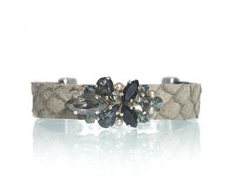 Grey fish leather bracelet / leather jewelry / Swarovski crystal bracelet / rhinestone bracelet / hand embellished bracelet / gift for her