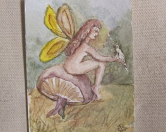 ACEO Original Watercolor Painting Art Figure Handmade Mini Painting Collectable Art