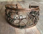 Copper Cuff Bracelet - Copper Wire Bracelet - Arthritis Jewelry - Hammered Copper Jewelry - Cuff For Her - Cuff Bracelet - Copper Jewelry
