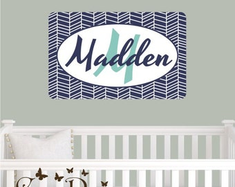 Herringbone Pattern Custom  Monogram name Reusable fabric decal,  Removable, reusable and repositionable fabric decal