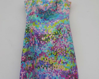 silken dress from 1960 inprired by Monet paintings / size M - L