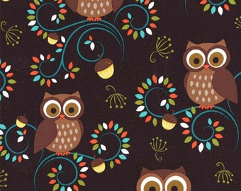 Michael Miller Norwegian Woods HAPPY HOOTERS Forest fabric - 1 yard