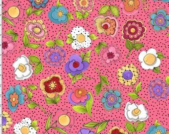 NEW Loralie Designs Blossom Big Blossom Pink fabric - 1 yard