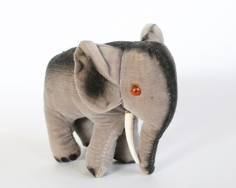 Vintage 1950s Velvet Elephant Plush Toy/Stuffed Animal