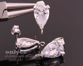 10pcs-15.5mmX9mm Bright Rhodium plated Brass LUX Teardrop CZ, zirconia earring, 925 sterling silver post Earring(K867S)