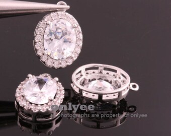 10pcs-17mmX12mmX6mmBright Rhodium plated (clear)LUX Cubic zirconia Oval Pendants Lead Free (K869S)