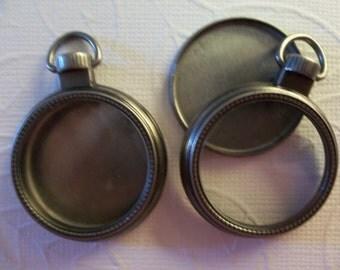 Mini 1 inch Glass Locket Vintage Style Pocket Watch Fillable Silver & Glass Locket Pendant - Qty 2