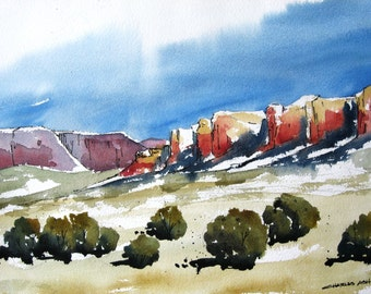 High Desert Mesas - Original Watercolor Painting