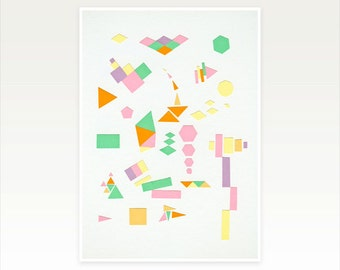 Modern Geometric Art, Minimalist Graphic Print in Pastel Colours - Juxtapose