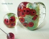 Handmade Lampwork beads - Poppy Heart - Creeky Beads SRA