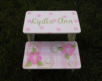 Pink Plaids Florals,Kids Furniture Steps & Stools Pink Green childs step stool BENCH  Kids Furniture , Bathroom Stools Nursery Free name