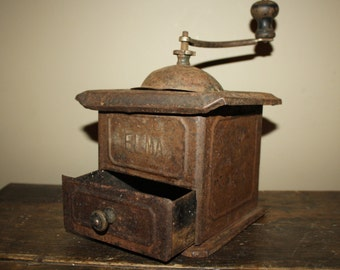 Antique Primitive Rusty Tin Coffee Grinder; 1930s Metal ELMA S.A. Coffee Mill; Country, Rustic, Kitchen Decor