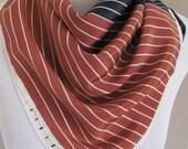 "Vera Neumann // Beautiful Brown Black White Striped Poly Scarf // 20"" Inch 51cm Square"