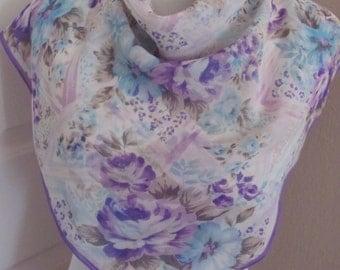 "Scarf Beautiful White Purple Floral Ladies Silk Scarf  // 28"" Inch 71cm Square"