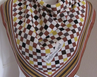 """YSL Yves Saint Laurent // Brown White Soft Silk Scarf // 26"""" Inch 76cm Square // Best of the Best"""