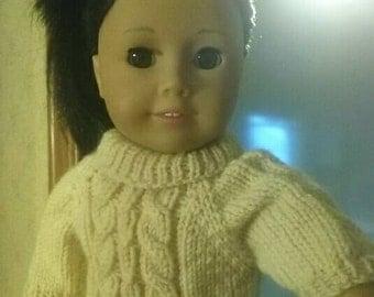 "Handknit Hazelnut Mocha Cabled Sweater for 18"" Dolls"