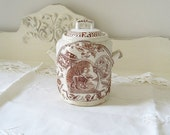 ON SALE Antique Victorian Brown Aesthetic Transferware Sugar Bowl and Lid Charles Allerton Staffordshire Little Mae and Dog Child's Set Coll