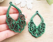 WP27 /# 7 Emerald Green / Wood Lace Pairs for Earring / Laser Cut Lace Wooden Charm /Pendant /Filigree Wood Charm/Eardrop/Dangle