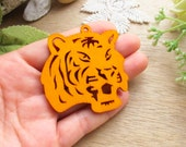 WP41/  # 2 Orange /Filigree Wood Tiger / Laser Cut Tiger Wooden Charm/ Pendant/ Filigree Wood Dangle / Large Pedant Woodwork findings