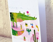 Crococactus card // greeting card // funny crocodile illustration