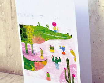 Crococactus card // greeting card // funny crocodile illustration