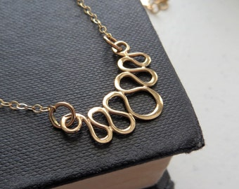 serpentine necklace, nymetals, SALE, bronze charm and 14k gf chain