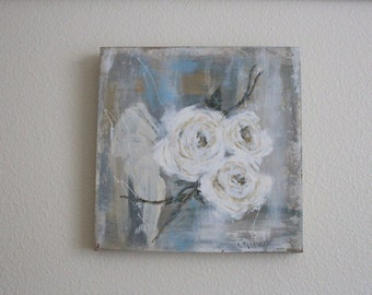 ORIGINAL 12x12 Hand Painted..White ROSES on wood..Salvage Frame..Cottage Shabby Chic, French, Jeanne d Arc style. Signed piece