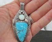 Turquoise and Opal Sterling Silver Pendant