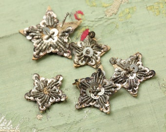 5 Antique metal bullion star lot art deco trim silver  1920  ribbon ribbonwork millinery trim flapper 1900s 1920 edwardian millinery